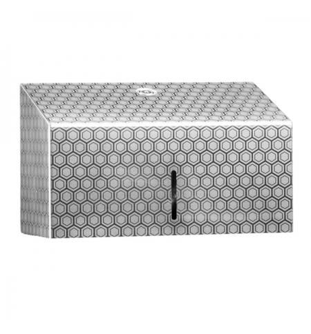 фото: Диспенсер для полотенец листовых Merida Inox Desigh Honeyсomb Line Mini ADH201, металлик с рисунком,