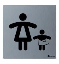 фото: Дверная табличка Merida Premium Комната матери и ребёнка, 100х100мм, матовая нержавеющая сталь, GSM0