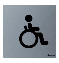 фото: Дверная табличка Merida Premium Туалет для инвалидов, 100х100мм, матовая нержавеющая сталь, GSM009
