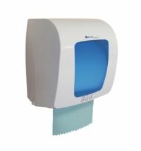Диспенсер для полотенец в рулонах Merida Top Mini белый с синим, пластик, сенсорный
