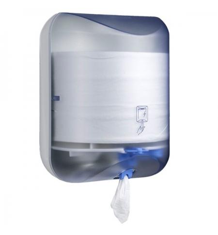 фото: Диспенсер для полотенец с центральной вытяжкой Merida Mini позрачный голубой, BJB701