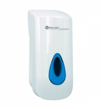 фото: Диспенсер для мыла в картриджах Merida Top DTN201, без помпы, белый/синий, 700мл