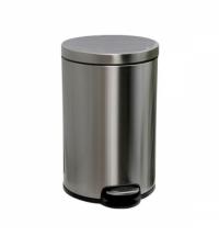 фото: Ведро для мусора с педалью Merida Silent 12л, матовый металлик, с внутренним ведром, KIM414